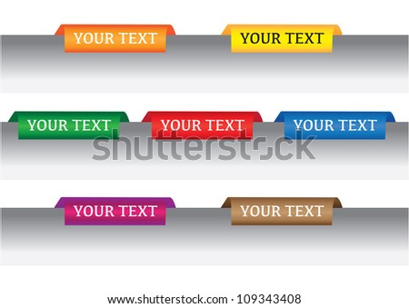 Business color tabs/labels with 7 color. - stock vector