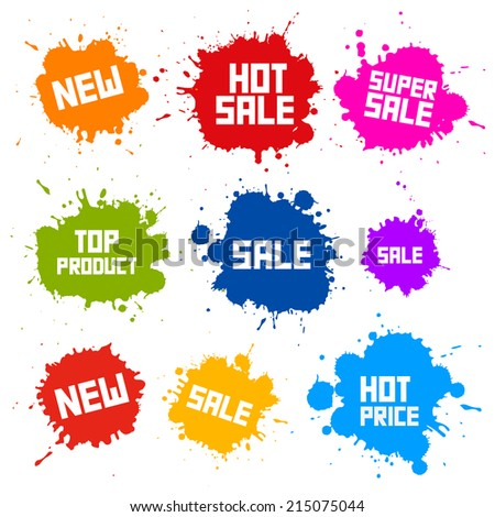 Business Colorful Vector Icons - Sale Blots - Splashes Labels - stock vector