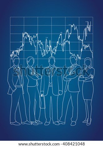 business command on a background an economic graph - stock vector