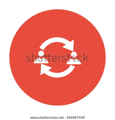 Business communication. Conceptual illustration. Profile users connected icon. Social icon. Men exchanging symbol - stock vector
