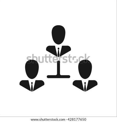 Business communication. Conceptual illustration. Profile users connected icon. Social icons. Men exchanging symbol. Modern flat icon - stock vector