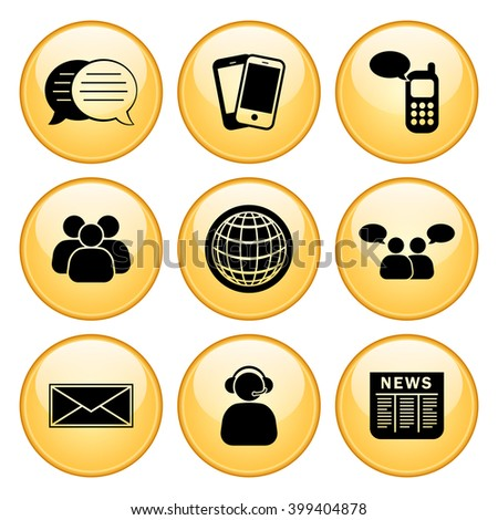 Business & Communication Icon Set with Gold Buttons - stock vector