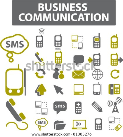 business communication icons, signs, vector illustrations