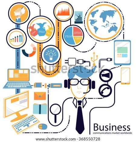 Business communications market worldwide - stock vector