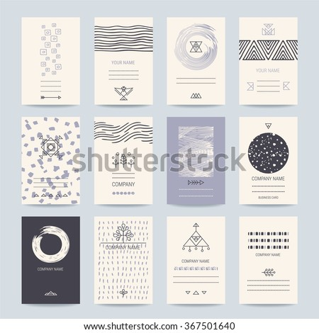 Business, company cards. Creative template collection of cards, flyers, banners with hand drawn textures, brush strokes, trendy thin line icons, geometric stylized illustrations. Isolated vector. - stock vector