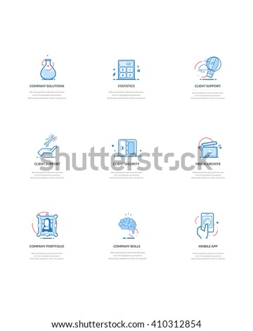 Business company icons: Set of business concept icons for personal or company portfolio, website project or printing. - stock vector