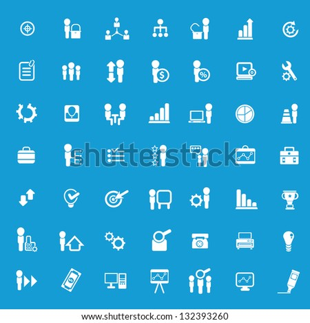 Business,company resource icons on blue background,vector - stock vector
