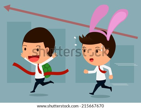 Business competition, Hare and tortoise set 3 - stock vector