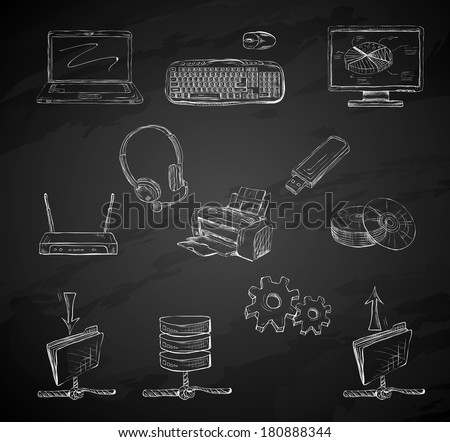 Business computer icons set of desktop mobile notebook network router and printer hand isolated vector illustration sketch on chalkboard - stock vector