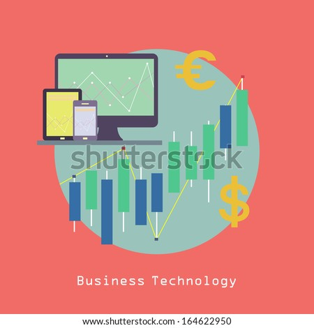 Business Computer Technology with Tablet pc and Smart phone with Financial graphics and currency symbols Communication concept trendy style in vector - stock vector