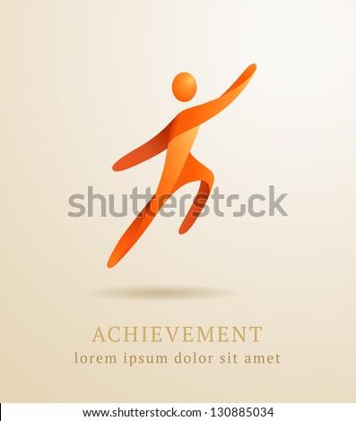 Business concept. Abstract human. Success achievement template - stock vector