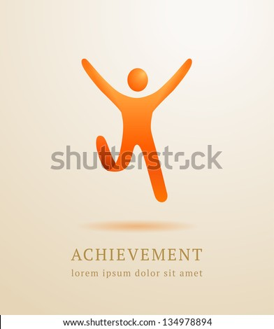 Business concept. Abstract human. Success achievement template