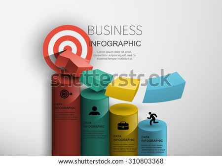 business concept achieving the goal vector chart 3D infographics - stock vector