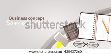 Business concept - analyzing. Notes calculator and eyeglasses on desk. Vector created illustration. Isolated objects. Sample text.  - stock vector