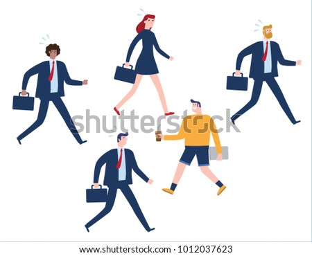 Business concept group businesspeople one direction stock vector business concept as a group of businesspeople in one direction and with one individual pointing in voltagebd Choice Image