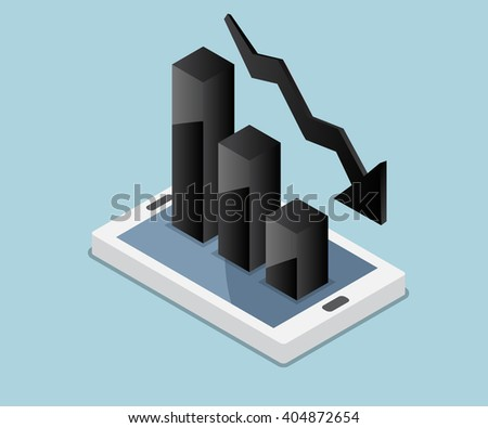 business concept, bar chart down, graph down, down chart icon on mobile vector illustration - stock vector