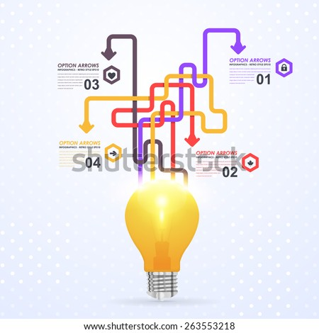 Business Concept Bulb, Numbers Infographics Complex Arrow Vector Design - stock vector