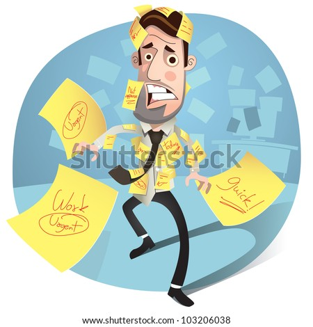 Business concept. Business man having a stress. worried and Headache. Vector Illustration - stock vector