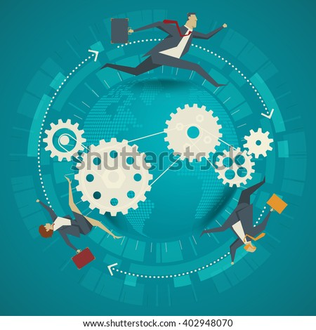 Business concept. Business people running around the world - stock vector