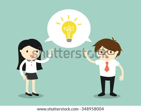 Business concept, business woman and businessman talking the same idea. Vector illustration. - stock vector
