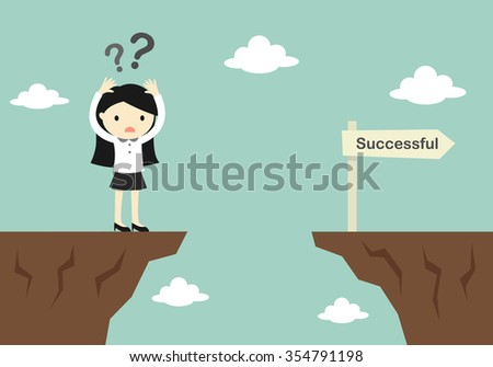 Business concept, business woman is confusing about how to across to another cliff. Vector illustration. - stock vector