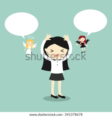 Business concept, Business woman with angel and devil and bubble speech. Vector illustration. - stock vector
