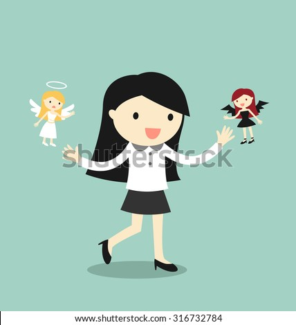 Business concept, Business woman with angel and devil. Vector illustration. - stock vector