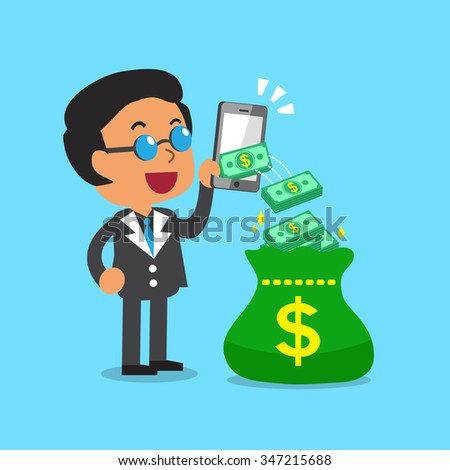 Business concept businessman using smartphone to earn money - stock vector