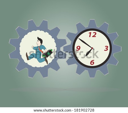 Business concept,Businessman wearing suit  carrying briefcase running inside of metal gear and clock,Vector illustration. - stock vector
