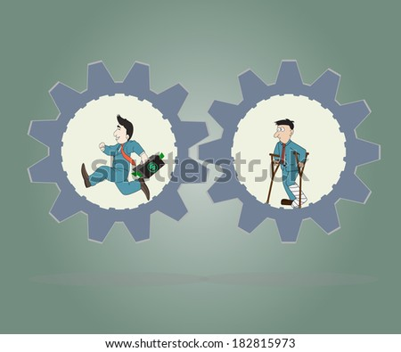 Business concept,Businessman wearing suit running inside of metal gear and  man standing injured ,Vector illustration.