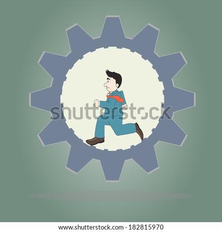 Business concept,Businessman wearing suit running inside of metal gear,Vector illustration. - stock vector