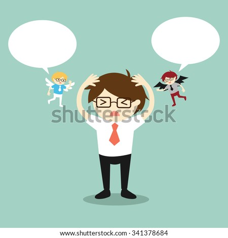 Business concept, Businessman with angel and devil and bubble speech. Vector illustration. - stock vector