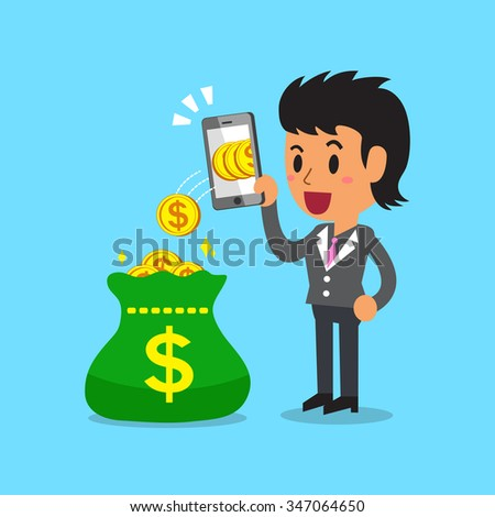 Business concept businesswoman using smartphone to earn money - stock vector