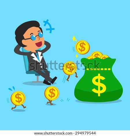Business concept cartoon business boss earning money - stock vector