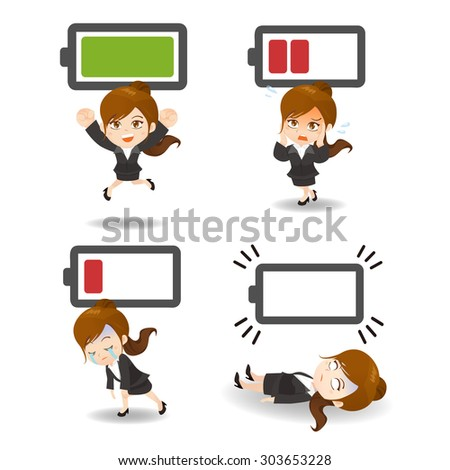 Business concept - Cartoon set of  business woman with battery power - stock vector