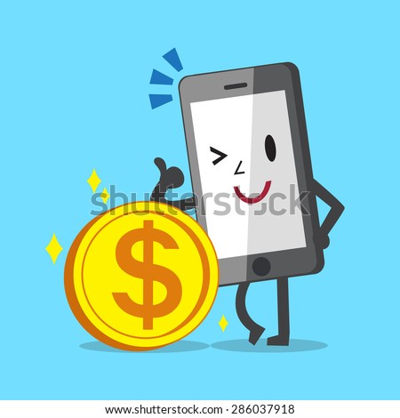 Business concept cartoon smartphone character leaning against coin - stock vector