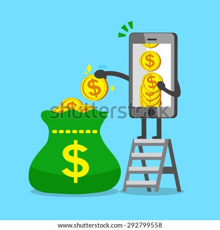 Business concept cartoon smartphone character putting money coins to a big bag - stock vector