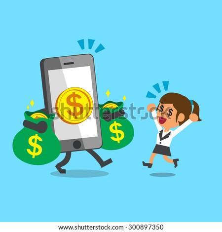 Business concept cartoon smartphone giving money to businesswoman - stock vector