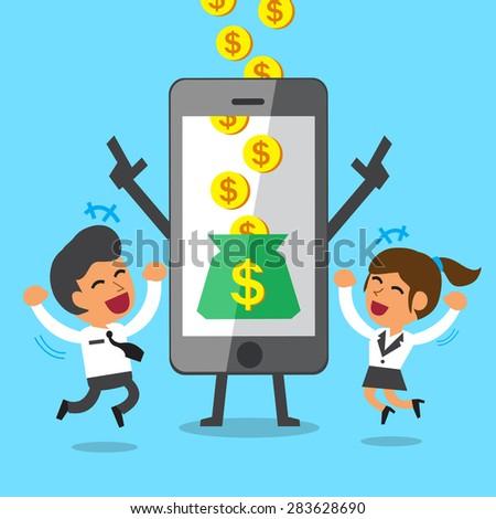 Business concept cartoon smartphone help businessman and businesswoman to earn money - stock vector