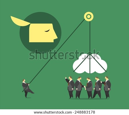 business concept character pulls a crowd big brain on the winch metaphor for the collective intelligence - stock vector