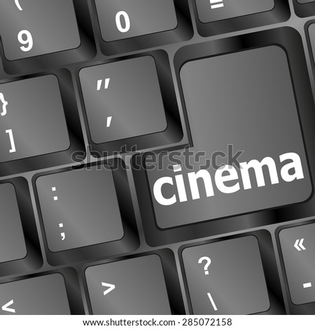 Business concept: Cinema key on the computer keyboard vector - stock vector