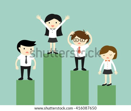 Business concept, Competition of business people. Vector illustration. - stock vector