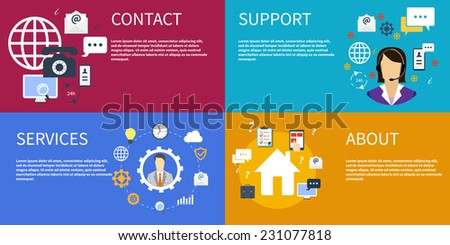Business concept customer care service support contact informati - stock vector