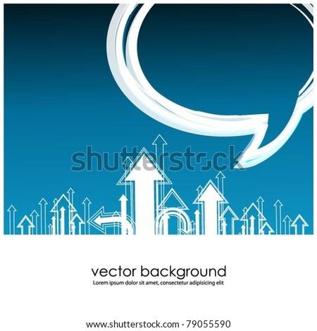 business concept design with arrows and speech bubble-vector - stock vector