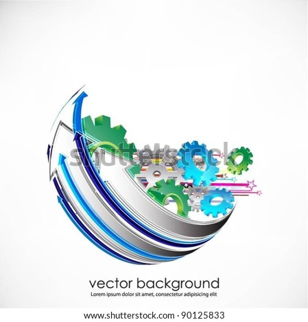 business concept design with gears and arrows - stock vector