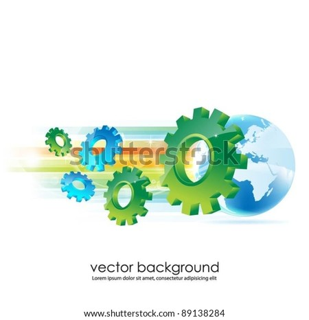 business concept design with globe and gears - stock vector