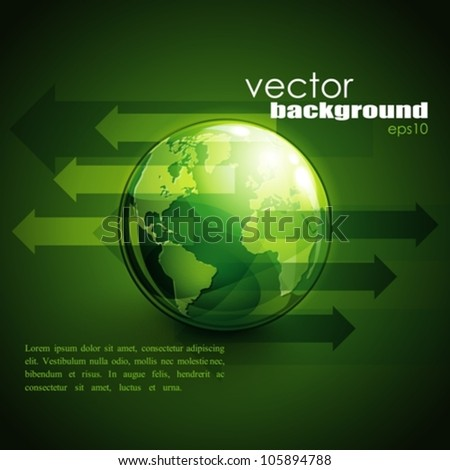 business concept design with green globe and arrows - stock vector