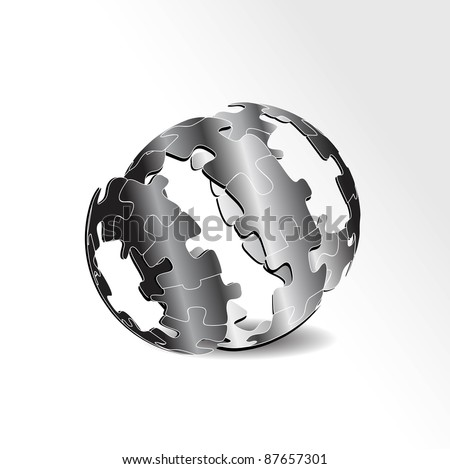 business concept design with puzzle pieces-vector - stock vector