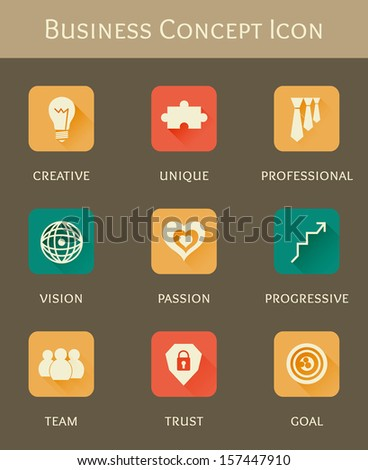 business concept flat icon set - stock vector