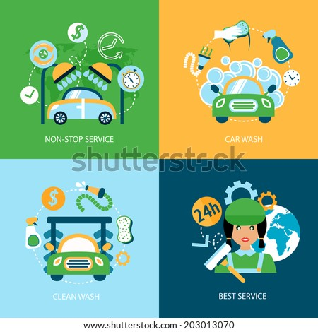Business concept flat icons set of car wash best clean non stop auto service infographic design elements vector illustration - stock vector